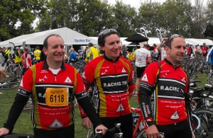 Tomme, David and Jamie at the finish. 217km done!
